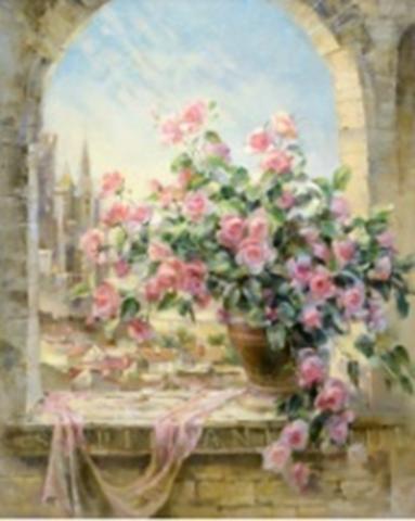 Картина раскраска по номерам 30x40 Букет роз на окне в замке (арт. KTL0013)