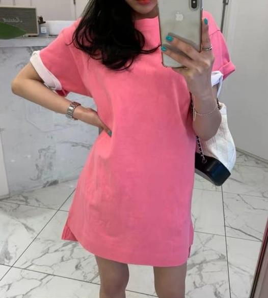 Удлиненная футболка с разрезами, розовый