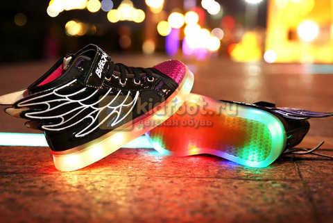 Светящиеся кроссовки с крыльями с USB зарядкой Бебексия (BEIBEIXIA), цвет черный розовый, светится вся подошва. Изображение 7 из 20.