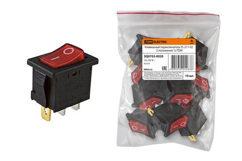 Клавишный переключатель YL-211-02 черный корпус красная клавиша 2 положения 1з TDM