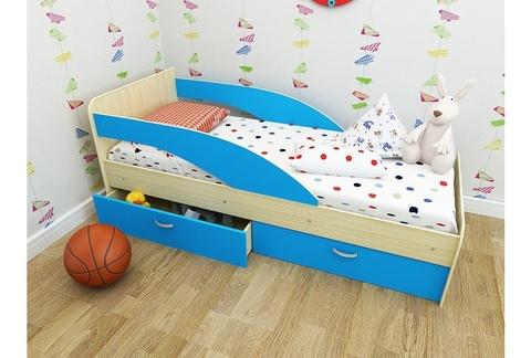 Кровать Антошка млечный дуб/ голубой