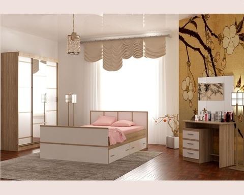 Спальня модульная САКУРА-7 дуб сонома / белый глянец