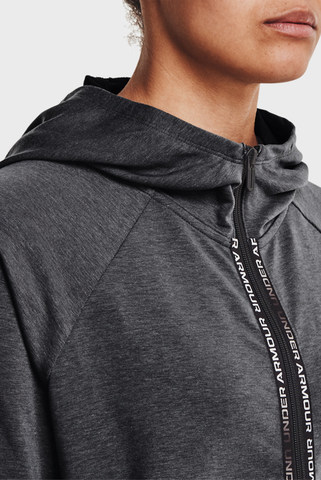 Женское серое худи Rival Terry Taped FZ Hoodie-GRY Under Armour