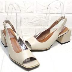 Женские кожаные босоножки бежевые Brocoli H150-9137-2234 Cream.