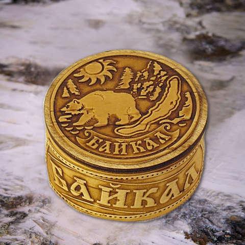 Шкатулка Байкальский медведь на бересте