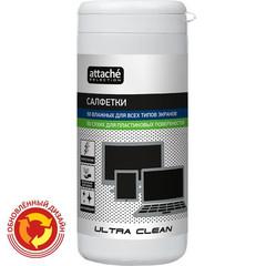 Салфетки Attache Selection Ultra Clean в тубе для экранов/пластика (50+50 штук)