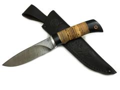 Нож Мурена, дамасская сталь, рукоять из бересты и черного дерева
