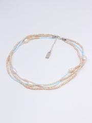 Браслет многослойный из персикового хрусталя с серебром и крупным жемчугом  оптом и в розницу