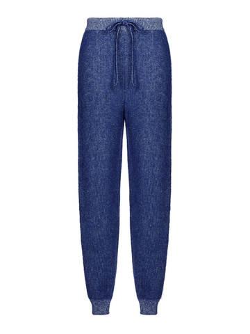 Женские брюки темно-синего цвета из мохера и кашемира - фото 1