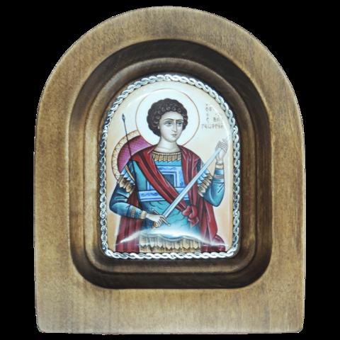 Икона финифть Георгий Победоносец деревянная арка