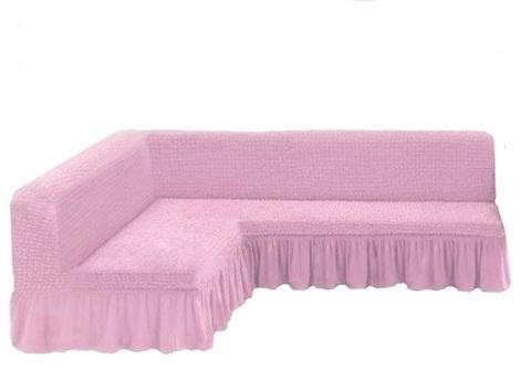 Чехол на угловой диван без подлокотников, розовый