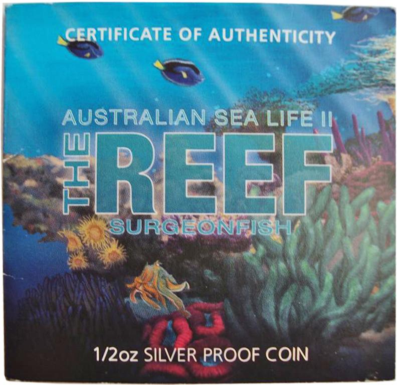 50 центов. Рыба-хирург. Австралийские рифы. Австралия. Серебро. 2012 год