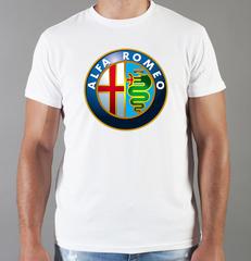Футболка с принтом Альфа Ромео (Alfa Romeo) белая 003