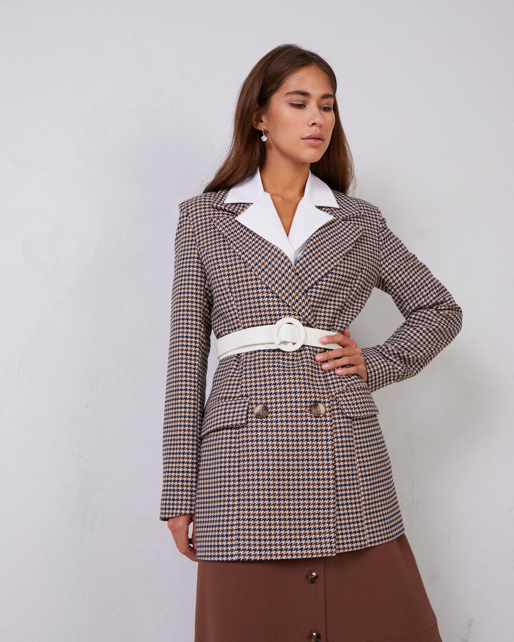 Пиджак приталенный двубортный в гусиную лапку (коричневый)
