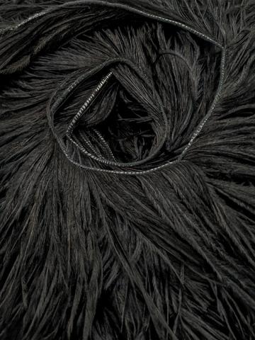 Премиум Тесьма  из перьев страуса на нитке в 2 слоя h 10-15 см., черный (10 метров)