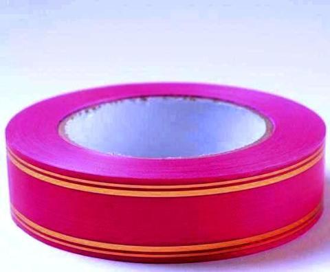 Лента с золотой полосой PL (размер: 2 см х 50 ярдов) Цвет: малиновый