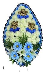 Венок украшенный цветами хризантем, лилий и георгинов