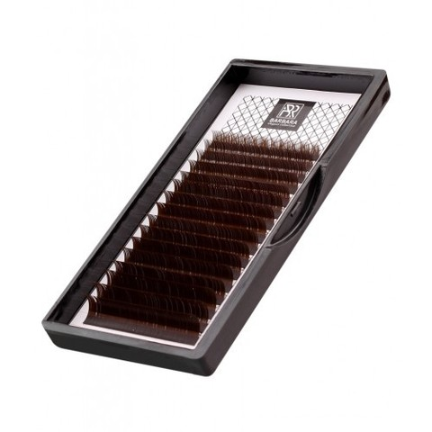 Тёмно-коричневые ресницы BARBARA МИКС, изгиб L+ (L+ 0.10 7-12mm)