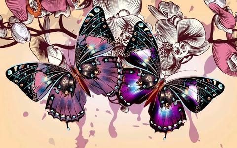 Алмазная Мозаика 20x30 Яркие бабочки (арт. MTCH8245)
