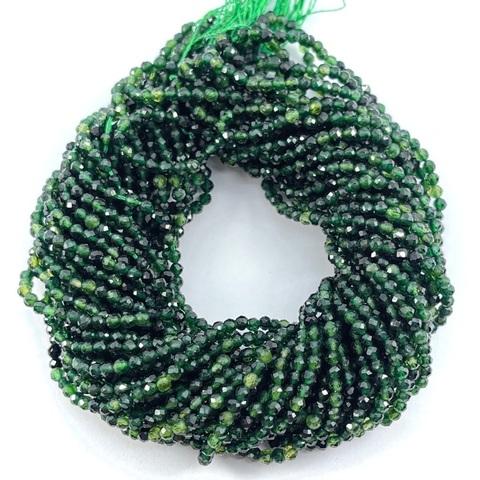 Бусины турмалин зелёный AА шар граненый 2,2 мм цена за 175 бусин (~39 см)