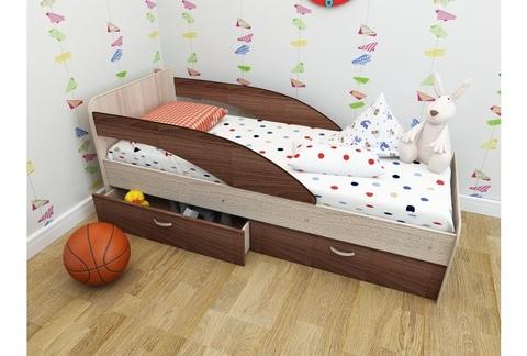 Кровать Антошка ясень темный / ясень светлый