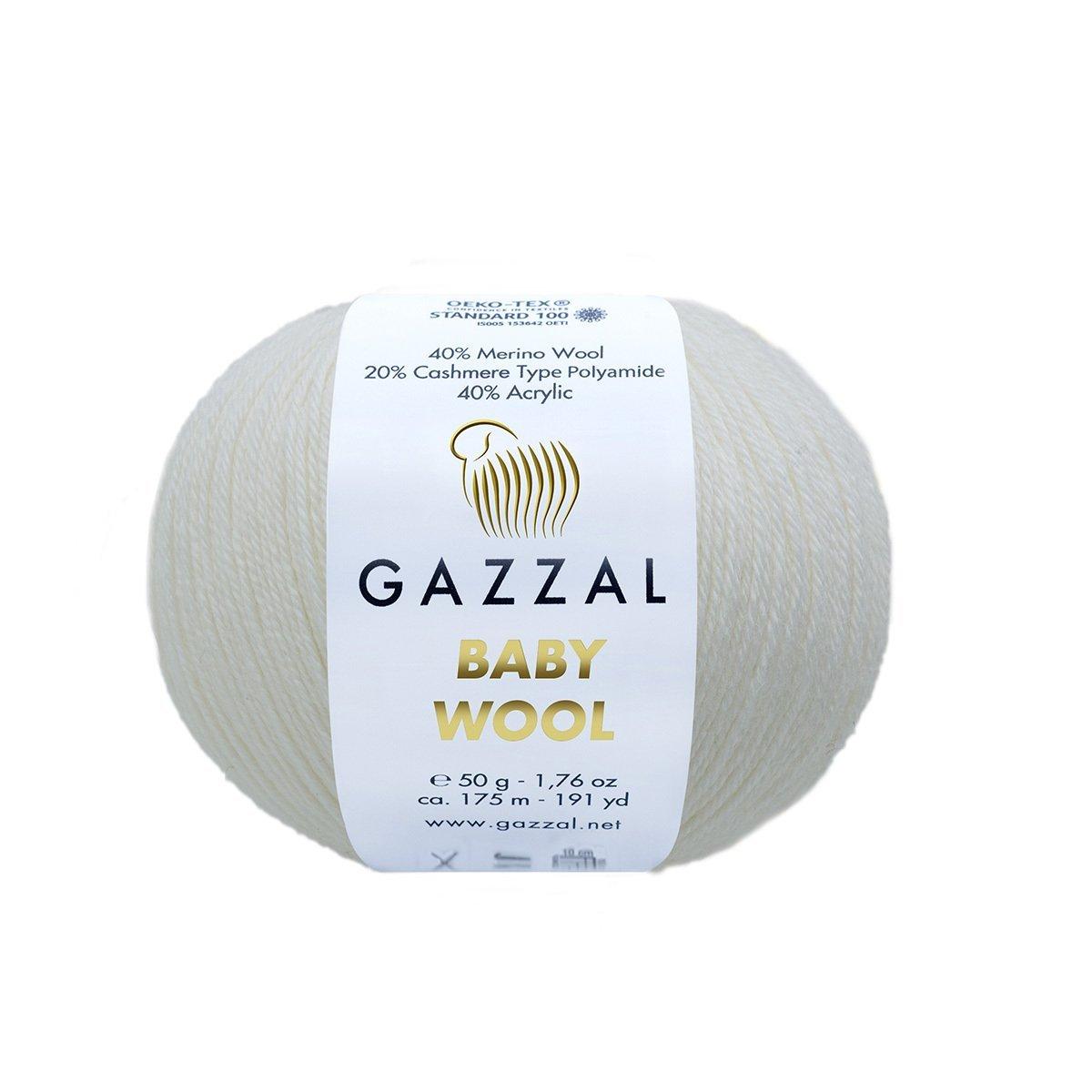 Пряжа Gazzal Baby Wool 801 белый