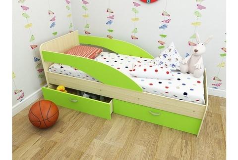 Кровать Антошка млечный дуб / салатовый
