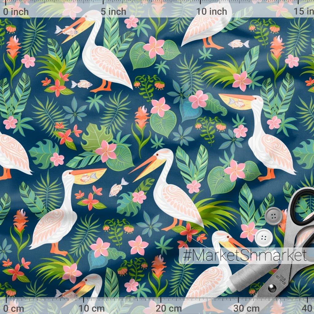 Пеликаны, цветы на синем фоне. TROPICANA. (Дизайнер Irina Skaska)