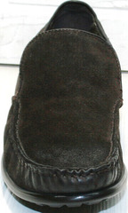 Мужские зимние туфли мокасины без шнурков Welfare 555841 Dark Brown Nubuk & Fur.