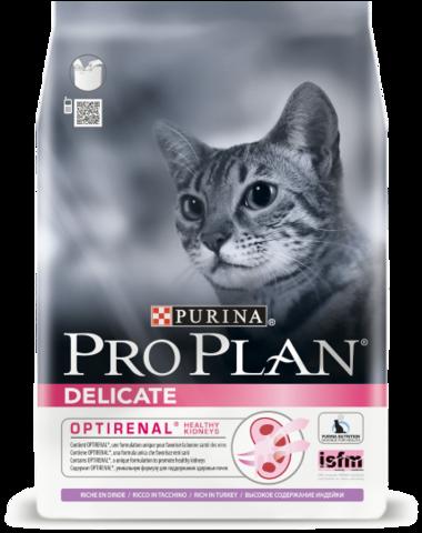 Сухой корм Purina Pro Plan Delicate для кошек с чувствительным пищеварением, индейка