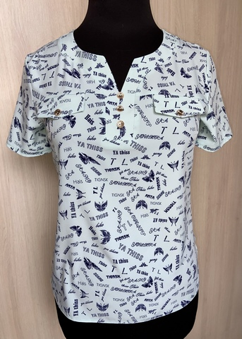 Джемма. Блуза великих розмірів з пояском, короткий рукав. М'ята метелики
