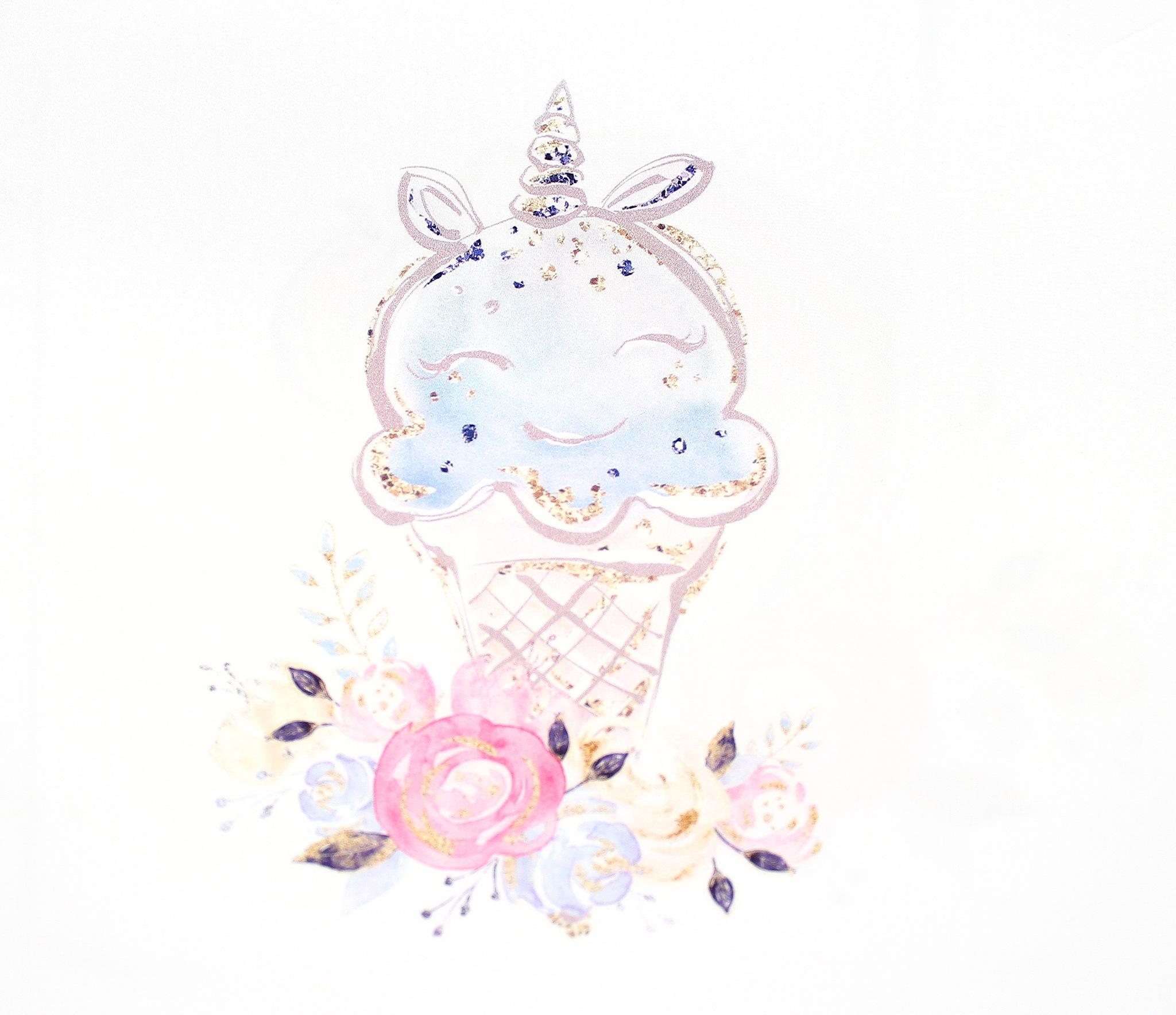 Панель(купон) единорог и мороженое -35*35 см, 4 шт.