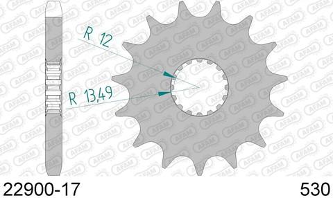 Звезда передняя SUZUKI GSX-R 1000, 1340 (ведущая) стальная, 530, AFAM (JTF423.17)