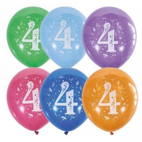 Шары Цифра 4 разноцветные