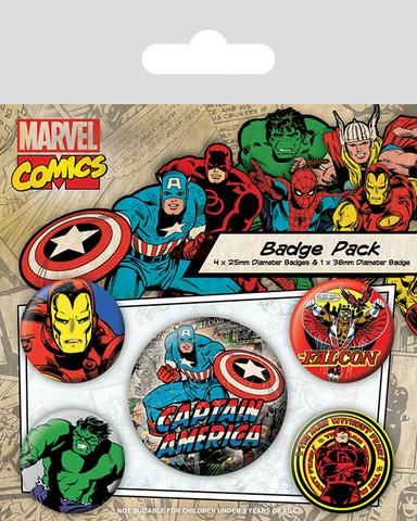 Набор значков «Marvel Retro. Капитан Америка»