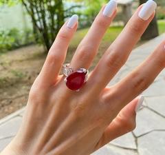 51682 - Кольцо из серебра с рубиновыми кварцем и фианитами