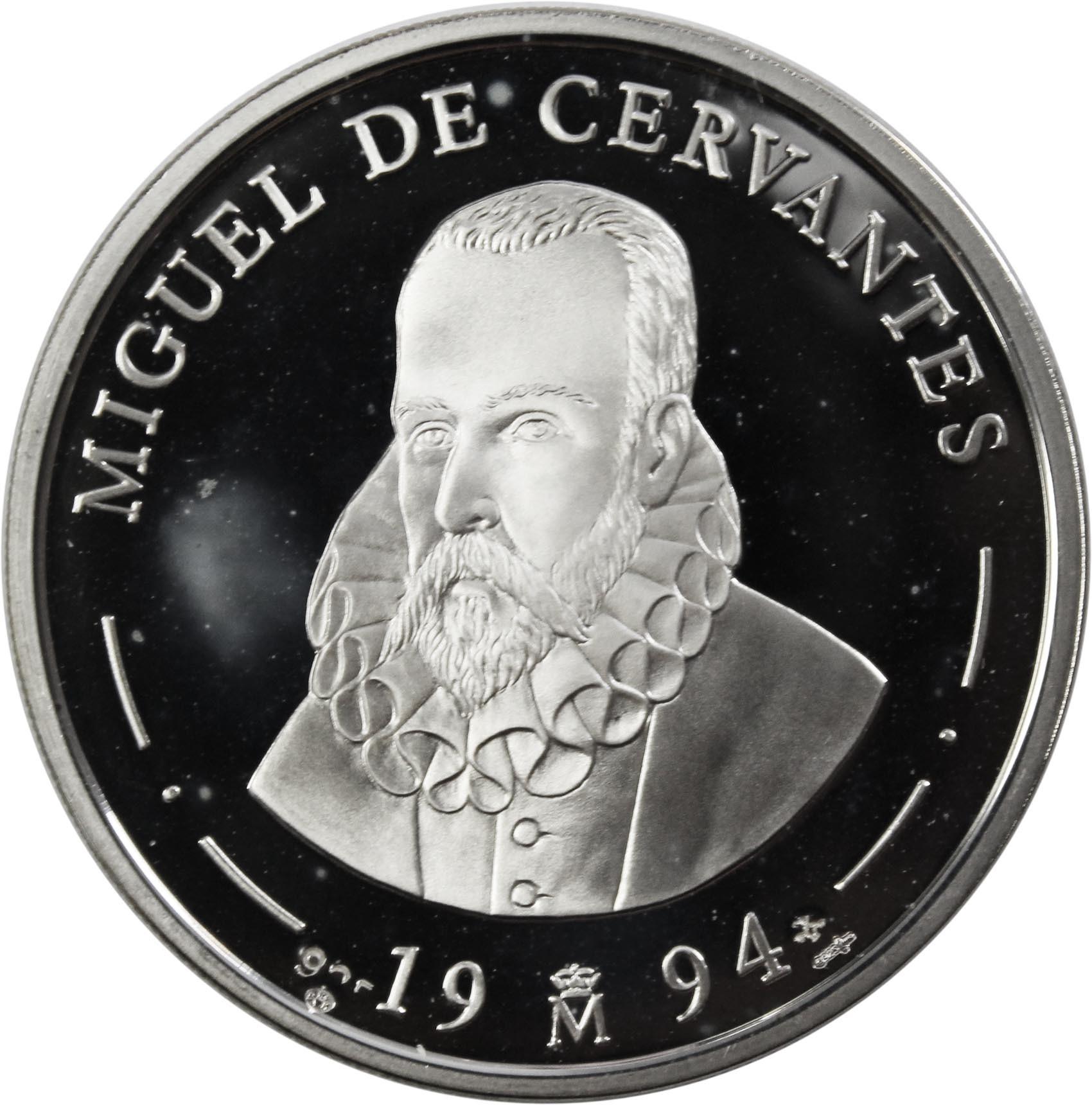 5 экю. Мигель Сервантес (автор Дон Кихота). Испания. Серебро. 1994 г. PROOF