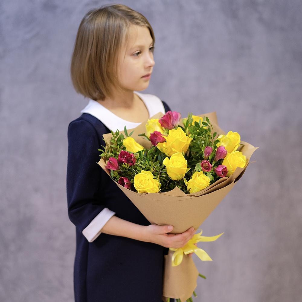 Купить недорогой букет с желтыми розами Пермь доставка заказ онлайн