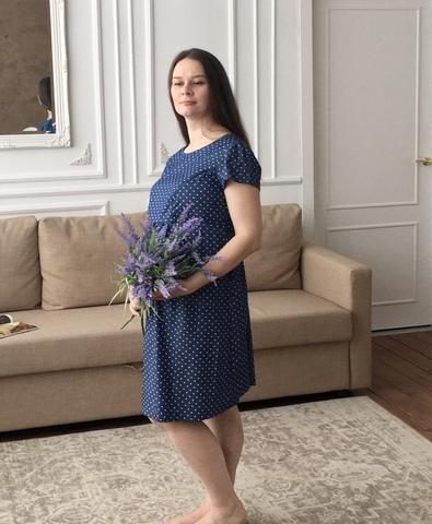 Платье для беременных и кормящих цвет синий принт сердечки