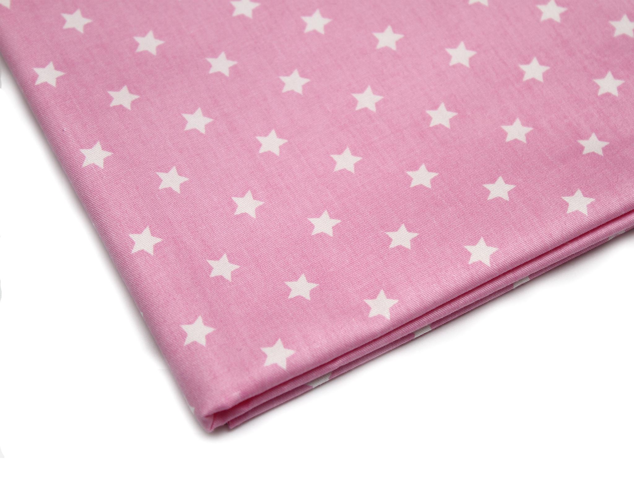 Звезды белые на розовом,10 мм