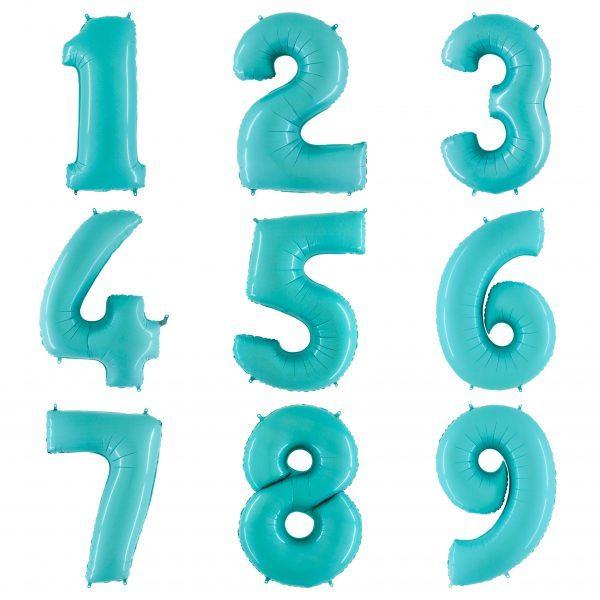 Голубые цифры с гелием 102 см