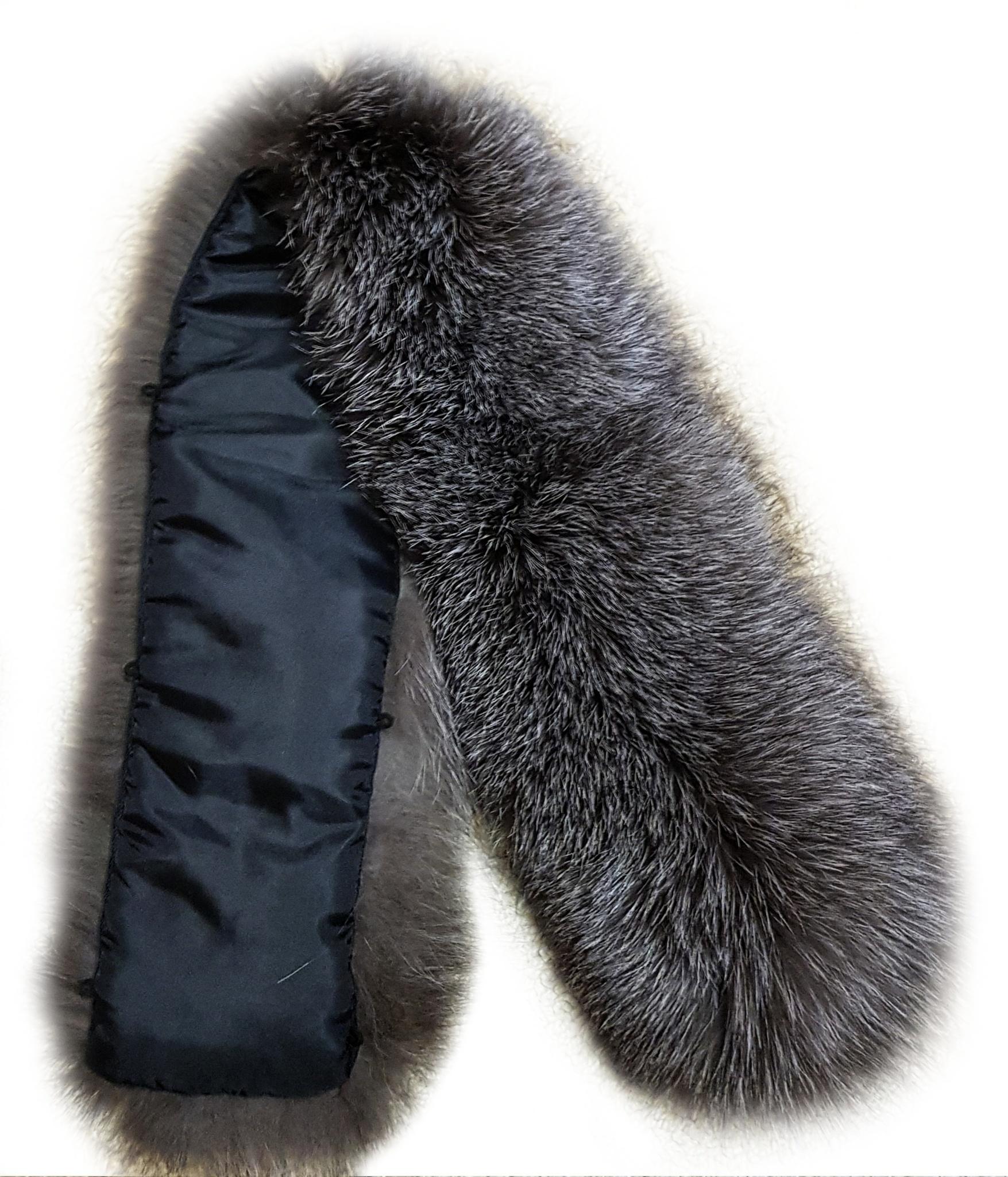 Опушка меховая на капюшон из натурального меха лисы 80 см. Широкая