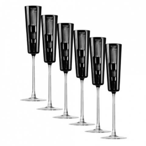 Набор фужеров для шампанского Champagne Retro Black, 110 мл, 6 шт.