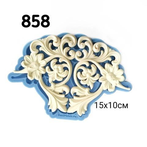 Молд Цветочный орнамент 15х10см, Арт.PO-0858, силикон