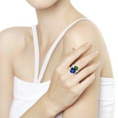 94013134 - Кольцо из серебра с эмалью и фианитом
