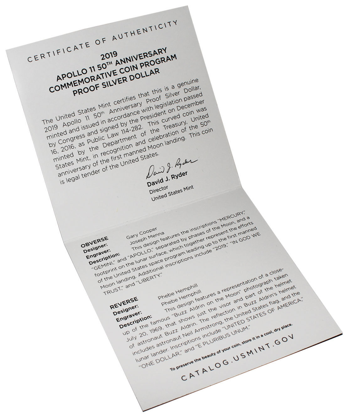 1 доллар США - Аполлон 11. 2019 год. PROOF №2