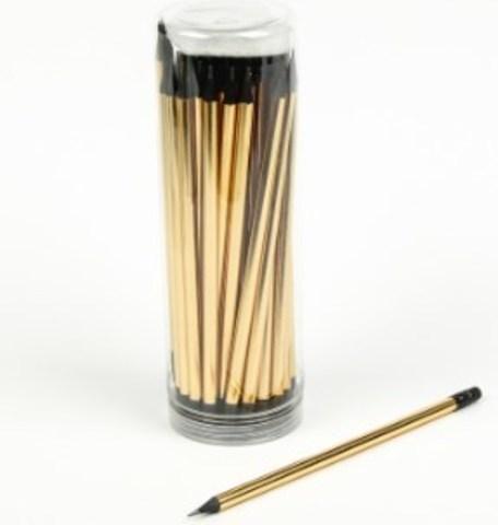 061-0222 Карандаш чернографитный, с ластиком, НВ, корпус круглый, заточенный, золотой