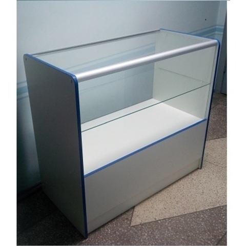 Прилавок ПП-1-1 (1000мм) ЛДСП/стекло, кромка синяя