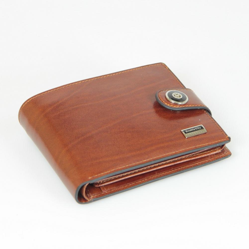 Стильный солидный рыжий мужской кошелёк бумажник портмоне из натуральной кожи с отделением для техпаспорта 027-DC9-05B