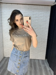 джинсовая юбка с пуговицами спереди купить